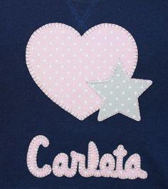 cocodrilova: sudadera corazon y estrella #sudaderabebe #camisetaspersonalizadas #sudaderacorazon #hechoamano  sudadera-corazon-estrella