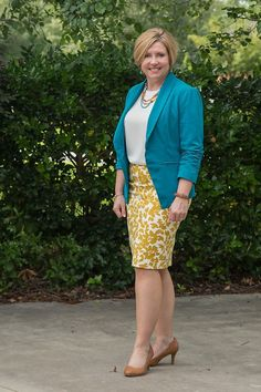 teal blazer with mustard print skirt, summer work wear, pencil skirt outfit Turquoise Blazer, Turquoise Skirt, Turquoise Clothes, Teal Skirt, Teal Outfits, Work Outfits, Mustard Skirt, Mustard Yellow, Summer Office Outfits