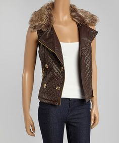 Another great find on #zulily! Chocolate Quilted Faux Leather Vest by Dollhouse #zulilyfinds