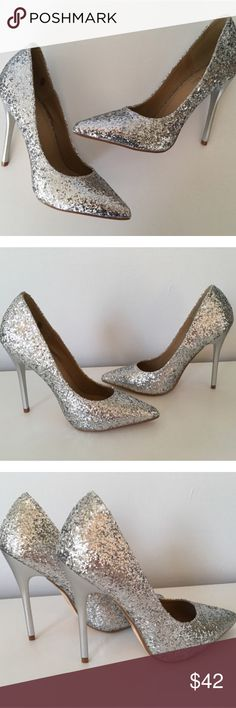 Silver Glitter High Heel Pumps ~ Silver Glitter High Heel Pumps. The count down is on for the holiday season. Light up the room with these beauties!!! They are running small, so size up half size.   No Trades. Price is Firm Unless Bundled.  2 Items 10% Off 3 Items 15% Off. Glamvault Shoes Heels