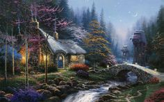 Thomas Kinkade Twilight Cottage painting is shipped worldwide,including stretched canvas and framed art.This Thomas Kinkade Twilight Cottage painting is available at custom size. Star Wars Kunst, Thomas Kinkade Art, Thomas Kinkade Christmas, Kinkade Paintings, Thomas Kincaid, Comics Illustration, Art Thomas, Painting Wallpaper, Christmas Paintings