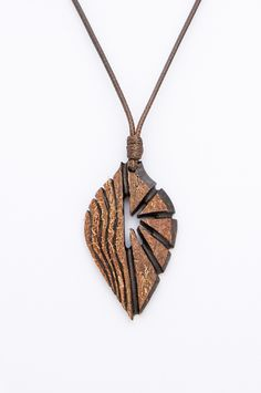 "Bohemian jewelry from coconut shell ""Aerograce"" Woodworking pendant gift for big brother Ethnic Brown orange elements Eco materials - $47.20 USD"