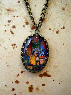 SALE Beauty and the Beast and Snow White Vintage Style Oval Cameo Necklaces (2 to choose from)