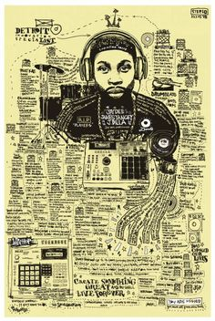 Joseph Buckingham winning artwork for J-Dilla Foundation tribute art competition.