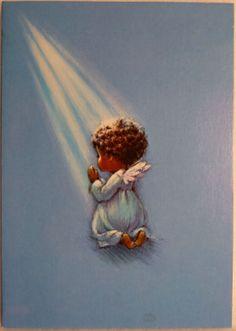 138 60s African American Glittered Angel Girl Vtg Rust Craft Christmas Card | eBay