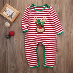 Baby Christmas Outfit - Striped Romper //Price: $13.99 & FREE Shipping //     #KidsOMG