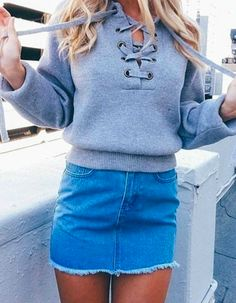lace up sweater + denim skirt