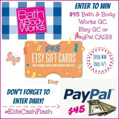 Want to spoil yourself this weekend? Enter to win a $45 Bath & Body Gift Card, Etsy Gift Card, or Cash here!