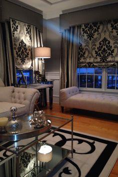 Custom window treatment and custom rug - beautifully balanced