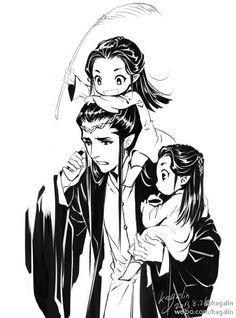 """Elrond with little Elladan and Elrohir (his twin sons) from """"Lord of the Rings"""" - Art by Kaga"""