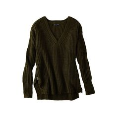AEO Side Zip Sweater (€41) ❤ liked on Polyvore featuring tops, sweaters, jumper, shirts, side zipper shirt, brown sweater, side zip sweater, zip sweater and side slit shirt