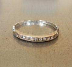 Vintage Platinum Diamond Band - Wedding Ring - Stacking Ring - Engagement Ring - Right Hand Ring - Promise Ring
