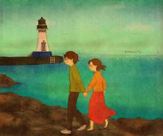 손을 잡고 바닷가를 걸었어요. We walked along the ocean while holding our hands.