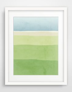 Blue and Green Abstract Art, Large Wall Art, Nature Art, Minimalist Poster