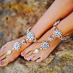 Django Jeweled Barefoot Sandals crystal flower boho beach wedding shoes #barefootsandals