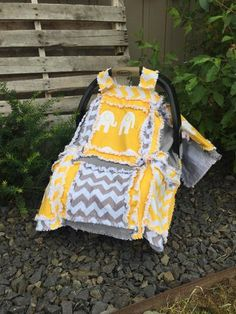 Yellow / Gray Elephant Car Seat Cover