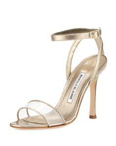 Dandolo+Metallic+Ankle-Wrap+Sandal+by+Manolo+Blahnik+at+Bergdorf+Goodman.