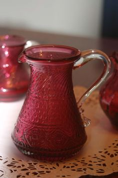 Vintage Cranberry Glass Pitcher w/Clear handle on Etsy♥ Cranberry Bog, Cranberry Color, Cranberry Glass, Glass Jug, Glass Pitchers, Glass Vessel, Water Pitchers, Red Cottage, Carnival Glass