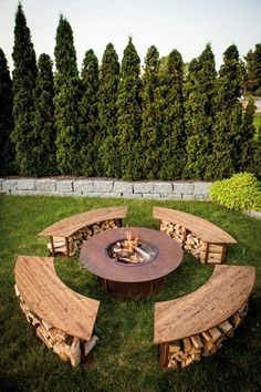 "Outdoor Fireplace Model ""Circle"" Set with grill and 4 benches in Edelrost - Palletten - garten dekore"
