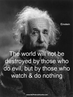 The world will not be destroyed by those who do evil, but by those who watch and do nothing.... #AlbertEinstein