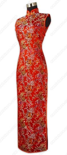 Mandarin collar.  Chinese treated Phoenix button.  Sleeveless.  Invisible right side zipper.  Blooming floral pattern.  2 side slits.  Fully lined.  Ankle length.