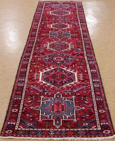 3 x 13 Persian KARAJEH Tribal Hand Knotted Wool RED NAVY Oriental Rug RUNNER #PersianKarajehTribalGeometric