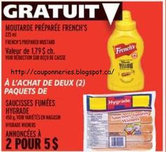 Coupons et Circulaires: 5$ HYGRADE saucisses + FRENCH moutarde