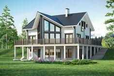 Hirsitalo Anttila 249 - Kuusamo Hirsitalot Sims, Log Homes, Style At Home, Home Fashion, Mansions, House Styles, Building, Home Decor, Deck