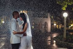 A misty night made for a dreamy wedding photo