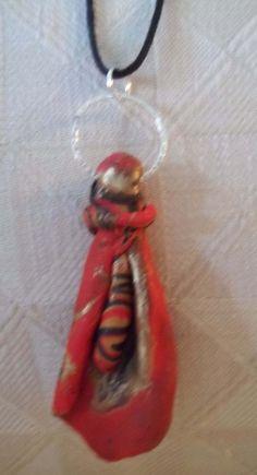 "Red/gold/Black1 1/ 2""Wx3""L  18"" Necklace. $6.00, via Etsy."