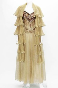 Automne-Hiver 1980 Christian Dior Paris Numbered Lace Gown with Scarf 2