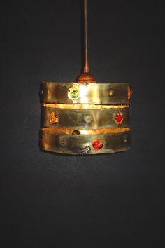 Handmade pendant lamp, bronze, inlaid with handmade glass beads. Handmade Lamps, Pendant Lamp, Cuff Bracelets, Glass Beads, Bronze, Jewelry, Jewlery, Jewerly, Swag Light