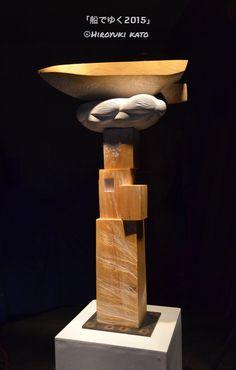 Kato Hiroyuki's sculpture 「船でゆく2015」