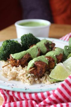 A Recipe For Healthy Peruvian Chicken Skewers With Cilantro Sauce