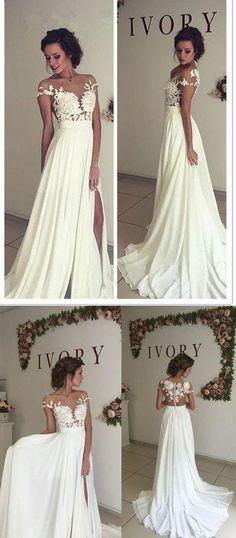 A-line Lace/Chiffon Beach Wedding Dress Fashion Custom Made Bridal Dress YDW0012