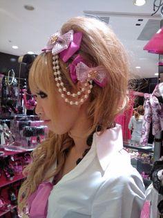 •○~ Gyaru fashion, ギャル♥ agejo style - MA*RS - hair style - updo - bouffant - curls - ribbons - pearls - hair clip - makeup - false eyelashes - pink - sequins - cute - kawaii - Japanese street fashion✮ ~•○