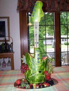 watermelon carving, guitar