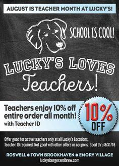 Lucky's LOVES Teachers: 10% off all month: http://campaign.r20.constantcontact.com/render?m=1121024361505&ca=6b75b4b0-6dee-4972-a71b-fbc3eaa37449 #teachers #backtoschool #teacherappreciation