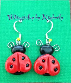 Ladybug Hand sculpted polymer clay dangle by WhimsiclayByKimberly, $9.00