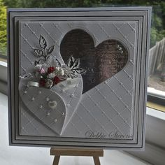 Good morning everyone, Friday at last!! Another Wedding card for you today , the ingredients are… Spellbinders grand squares, Spellbinders classic hearts, heart lattice embossing folder, memo…