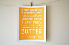 Never forget your recipes again—hang them on the wall! Recipe art by Articipe. $12