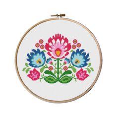 flowers cross stitch pattern, Cross Stitch Pattern, floral pattern counted cross stitch, cross stitch baby bibs, Instant download