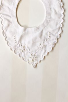 Vintage Baby Collar in White with Embroidery and by ElleBelleVin