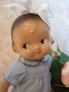 1940s Campbell Kid doll. OH HECK NO!!! If  this things head sat in a bed and turned is head 360• I wouldn't be surprised
