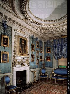 Blue Boudoir including a copy of Holbein´s portrait of Henry VIII, Warwick Castle, Warwickshire, uncredited