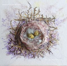 mixed media nest...lovely #egg #nest #embroider