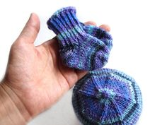 Thin wool purple and blue hat and socks choose your size by TinyOrchids #babyhat #babysocks #TinyOrchids