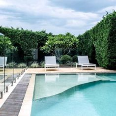 This pool with swim-out is surrounded by a thick Conifer hedge to provide privacy and a consistent backdrop. Backyard Dog Area, Backyard Pool Designs, Outdoor Landscaping, Outdoor Pool, Outdoor Spaces, Outdoor Living, Landscape Design, Garden Design, Sydney