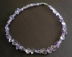Necklace beaded Ametrine Purple Yellow Clear stone Russian necklace Free shipping