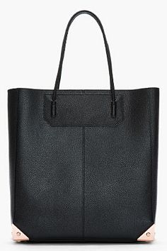 alexander wang/ black pebbled patent leather prisma tote